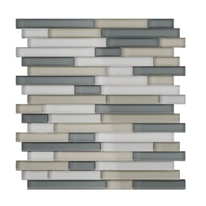 SpeedTiles Placidity Glass Peel and Stick Wall Tile - Linear Pattern - 11.65-in x 11.69-in - Mixed Grey