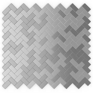 Tuile murale autoadhésive en métal Earl Grey de SpeedTiles, motif à chevrons, 12,09 po x 11,65 po, acier inoxydable