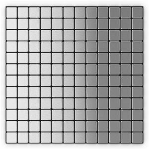 Tuile murale autoadhésive en métal Silver de SpeedTiles, carrés uniformes,12,2 po x 12,2 po, acier inoxydable