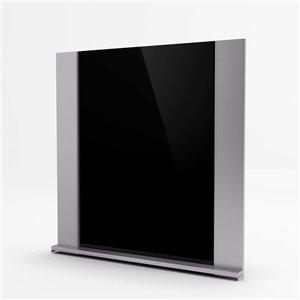 Inoxia Gamma Metal Backsplash - Adjustable Height - 31-in x 30-in - Stainless Steel and Black