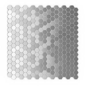 Tuile murale autoadhésive en métal Hexagonia de SpeedTiles, motif hexagonal, 11,46 po x 11,89 po, acier inoxydable