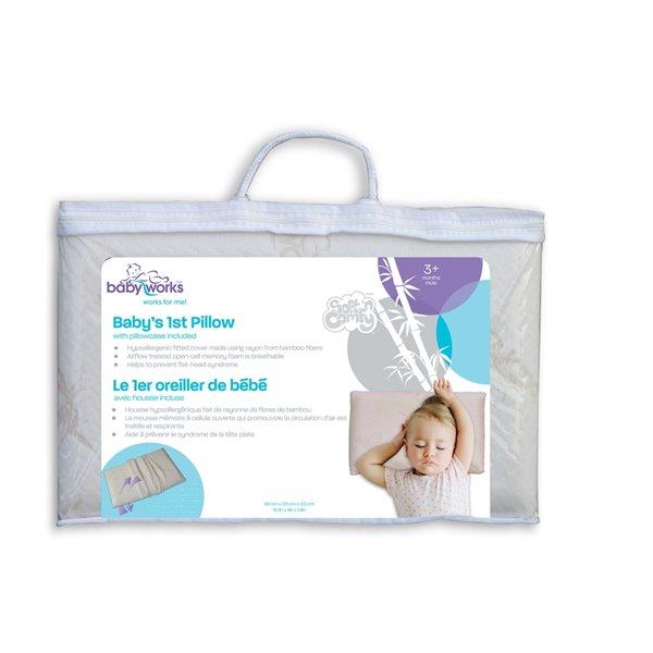 "Oreiller ""Le 1er oreiller de bébé"" de Baby Works, 19,17 po x 12,20 po, blanc cassé"