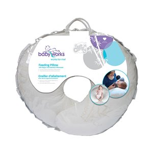 Oreiller d'allaitement de Baby Works, 21 po x 18,5 po, blanc cassé