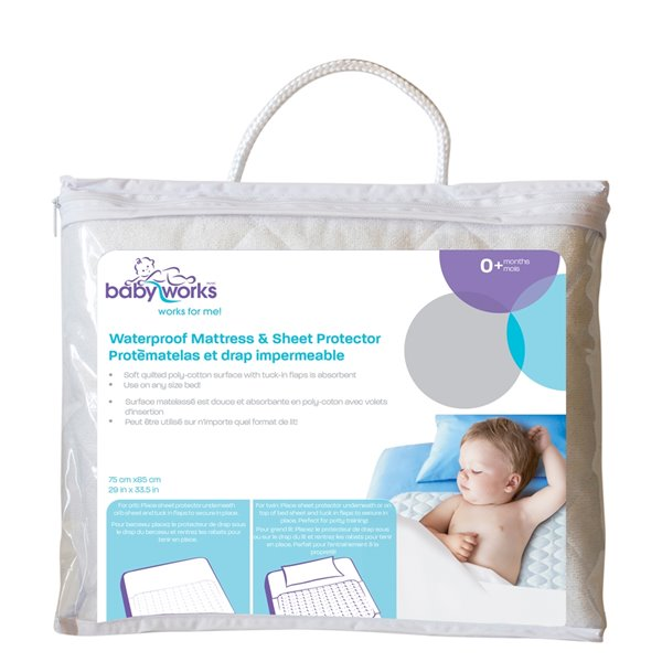 Baby Works Waterproof Mattress and Sheet Protector - 29.53-in x 33.46-in - Off-White