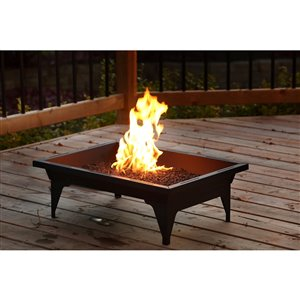 Kingsman Outdoor Firepit Rectangular 65 000 BTU - 20-in X 27-in