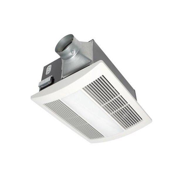 Ventilateur de salle de bain chauffant Whisperwarm de Panasonic avec lumière, 110 pcm, blanc
