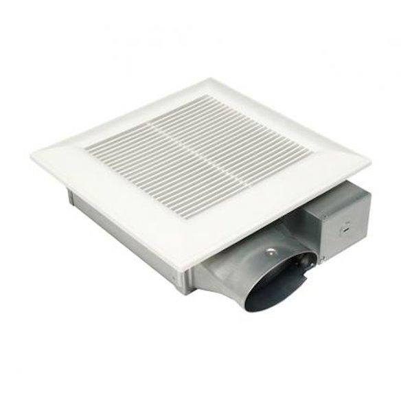 Ventilateur de salle de bain WhisperValue DC de Panasonic avec sélecteur de débit d'air, 50-100 pcm, blanc