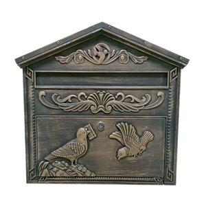 Boîte aux lettres en aluminium moulé, bronze rustique, 4 po x 15.5 po x 16.5 po