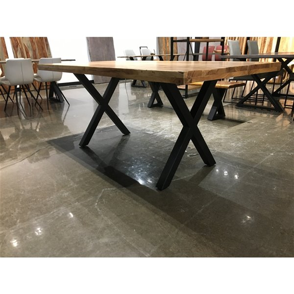 Table de salle à manger Corcoran en acacia gris, 70 po x 36 po