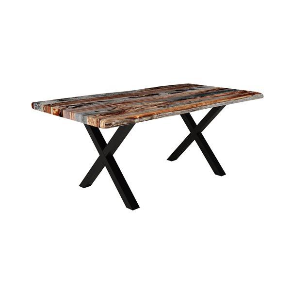 Table de salle à manger en sheesham gris, 70 po x 36 po