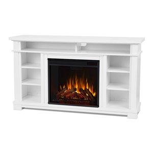 Foyer électrique à air forcé Belford de Real Flame, 56,12 po de large, blanc