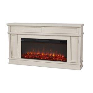 Foyer électrique à air forcé Torrey de Real Flame, 60,12 po de large, blanc os