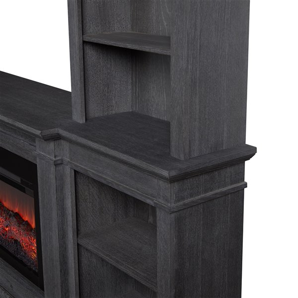 Real Flame MonteVista 107.62-in W Antique Gray Fan-Forced Electric Fireplace