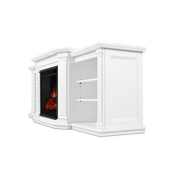 Foyer électrique à air forcé Valmont de Real Flame, 74,25 po de large, blanc