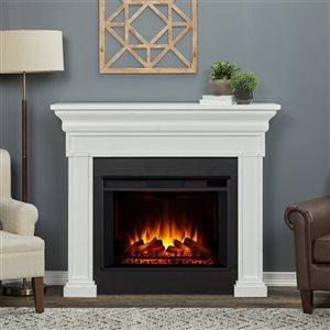 Foyer électrique à air forcé Emerson de Real Flame, 55,87 po de large, blanc rustique