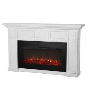 Foyer électrique à air forcé Alcott de Real Flame, 74,75 po de large, blanc