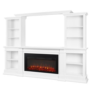Real Flame MonteVista 107.62-in W White Fan-Forced Electric Fireplace