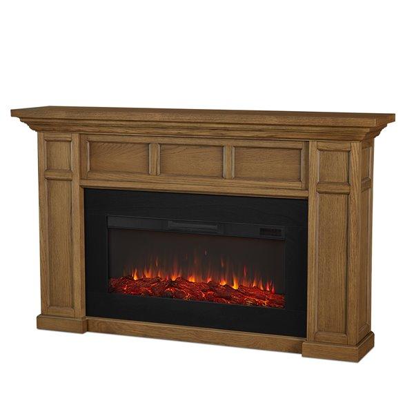 Foyer électrique à air forcé Alcott de Real Flame, 74,75 po de large, chêne anglais