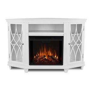 Real Flame Lynette 56.26-in W White Fan-Forced Electric Fireplace