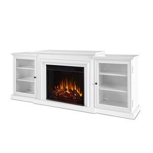 Foyer électrique à air forcé Frederick de Real Flame, 72 po de large, blanc
