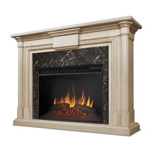Foyer électrique à air forcé Maxwell de Real Flame, 57,75 po de large, blanc délavé