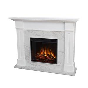 Foyer électrique à air forcé Kipling de Real Flame, 53,5 po de large, blanc et imitation de marbre