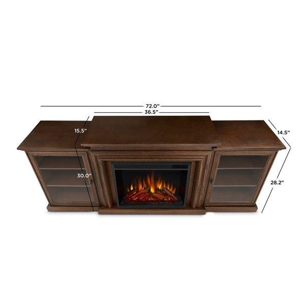 Real Flame Frederick 72-in W Chestnut Oak Fan-Forced Electric Fireplace