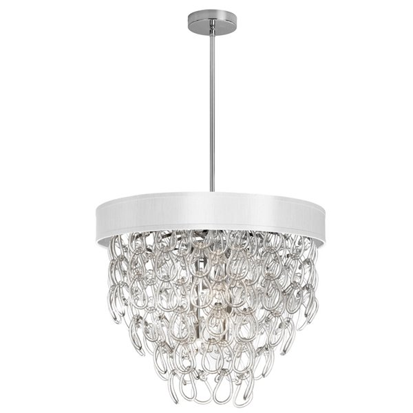 Dainolite Glass Loop Chandelier 6 Light - Polished Chrome Finish and White Shade