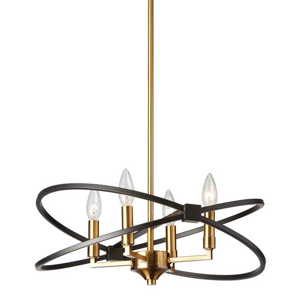 Lustre suspendu Dainolite à 4 ampoules incandescentes, fini bronze vintage et noir mat