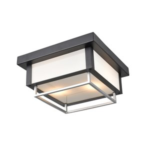 DVI Ionic Outdoor Flush-Mount Light - 2-Light - 12-in - Black and Stainless Steel
