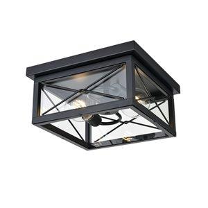Plafonnier d'extérieur County Fair de DVI, 2 lumières, 12,25 po, noir