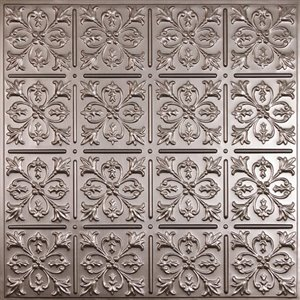 Ceilume Fleur de Lys Pewter Ceiling Tiles 2-ft x 2-ft - Pack of 4