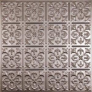 Tuiles de plafond décoratives Ceilume Fleur de Lys étain, 2 pi x 2 pi, paquet de 4