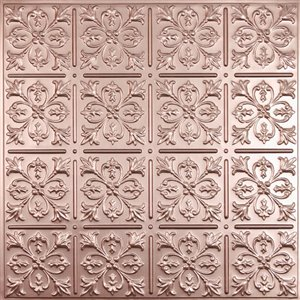 Ceilume Fleur de Lys Copper Ceiling Tiles 2-ft x 2-ft - Pack of 4