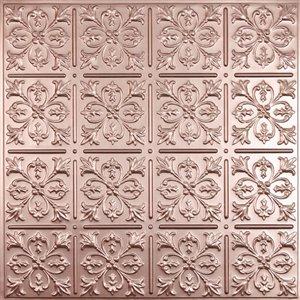 Tuiles de plafond décoratives Ceilume Fleur de Lys cuivre, 2 pi x 2 pi , paquet de 4