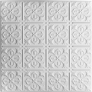Ceilume Fleur de Lys White Ceiling Tiles 2-ft x 2-ft - Pack of 4