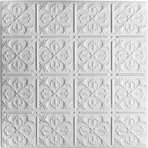 Tuiles de plafond décoratives Ceilume Fleur de Lys blanches 2 pi x 2 pi, paquet de 4