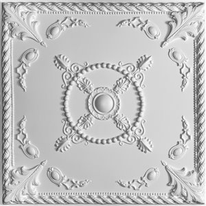 Ceilume Alexander White Ceiling Tiles 2-pi x 2-pi - Pack of 4