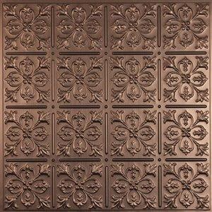 Tuiles de plafond décoratives Ceilume Fleur de Lys bronzes, 2 pi x 2 pi, paquet de 4