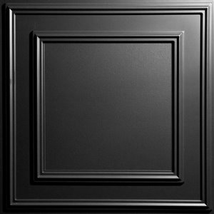 Ceilume Cambridge Black Ceiling Tiles - 2-ft x 2-ft - Pack of 4