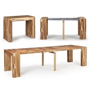 Table de salle à manger extensible Transformable Table, acacia naturel, 18 po à 118 po
