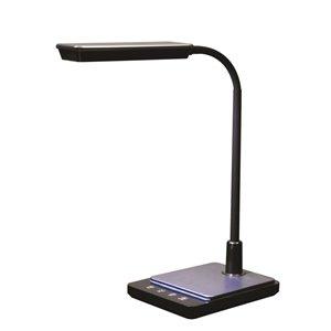 Lampe de bureau DEL RS International Canada col de cygne, port USB, noire