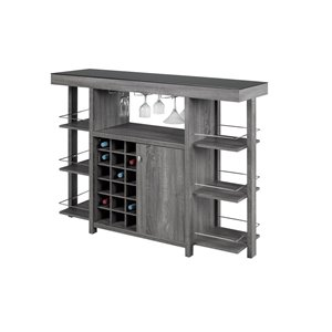 Brassex Bar Cabinet with Smoked Glass Top Grey - 18 bottles