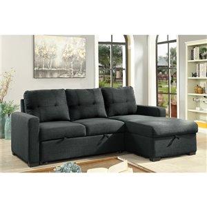 Sofa modulaire Brassex avec canapé-lit et chaise de rangement, gris