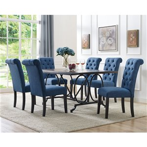 Brassex Soho 7-Piece Dining Set - Blue Finish