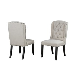 Brassex Memphis Tufted Dining Chair with Nail-Head Trim - Beige