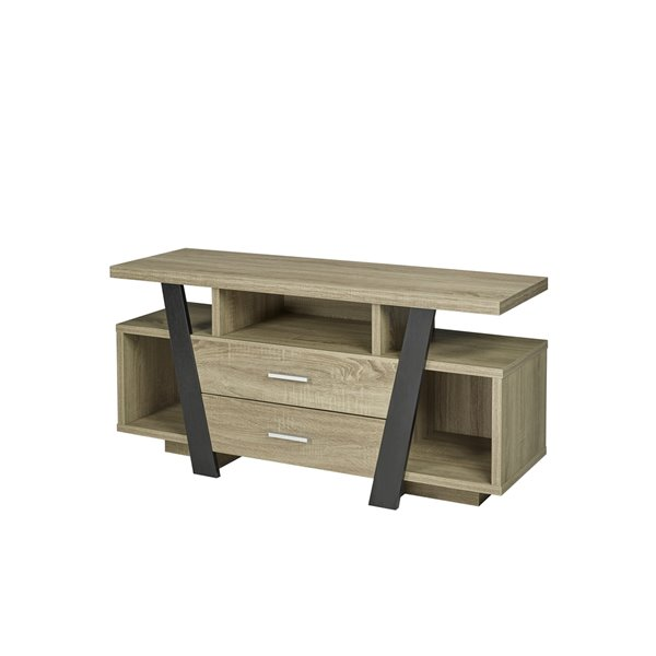 Brassex 47-in TV Stand with 2 Drawers and 3 Shelves - Dark Taupe/Black