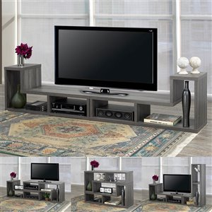 Brassex Multiple Configuration 66-in TV Stand with Open Storage Shelves- Grey