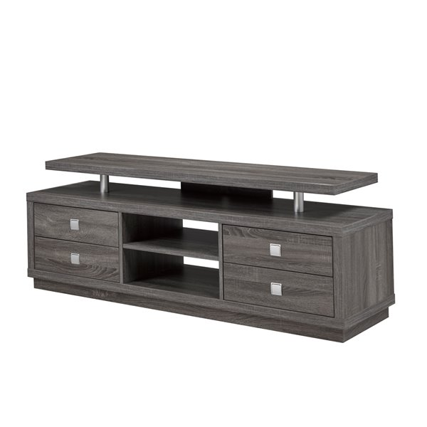 Brassex 66-in TV Stand with 4 Drawers and 2 Open Storage Shelves - Grey