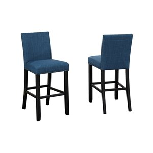 Brassex Indira Counter Stool with Nail-Head Trim Blue - 24-in - Set of 2